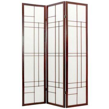 Oriental Furniture 6 Ft Tall Eudes Shoji Screen, 3 panel, black