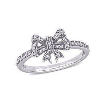 Miabella 1/6 Carat T.W. Diamond 10k White Gold Bow Ring