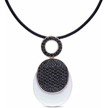 37 Carat T.G.W. Synthetic White Agate and Black Cubic Zirconia Pink-Plated Sterling Silver Necklace