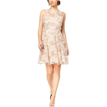 Taylor Womens Floral Embroidered Cocktail Dress