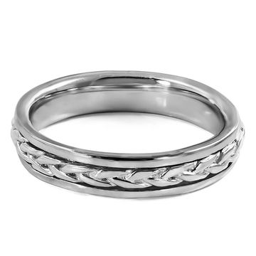 TwoBirch Celtic Braided Infinity Men's Wedding Ring in Solid Platinum