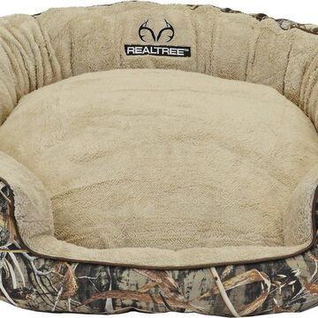 Realtree Max-5 Bolster Cat & Dog Bed w/Removable Cover, Camo/Taupe/Chocolate