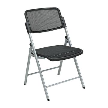 Office Star Pro-Line II ProGrid 2-Pack Folding Chairs, Black/Silver