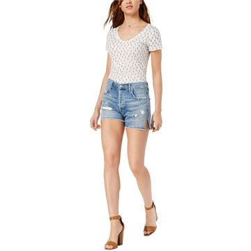 Citizens Of Humanity Womens Ripped Demin Casual Denim Shorts