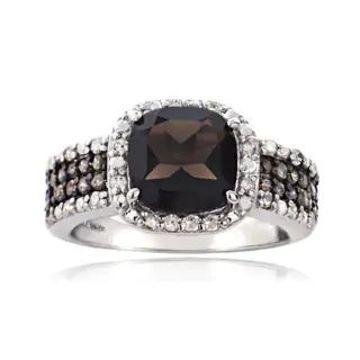 Glitzy Rocks Sterling Silver White and Champagne Diamond Smokey Quartz Ring (9)