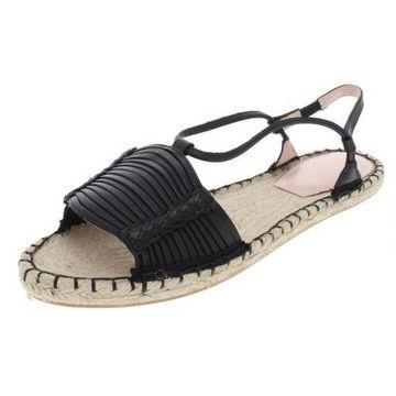 Avec Les Filles Womens Genevie Woven Slingback Flat Sandals