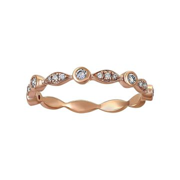 14k Gold 1/4ct TDW Diamond Art Deco Semi-Eternity Band Ring by Beverly Hills Charm