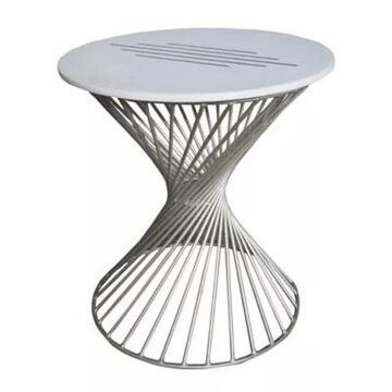 A&B Home Makrana Marble Table In Silver/white