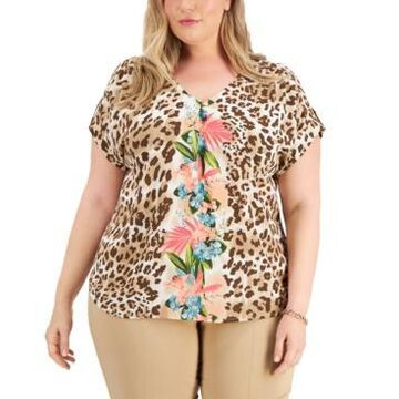 Jm Collection Plus Size Printed V-Neck Top, Created for Macy's