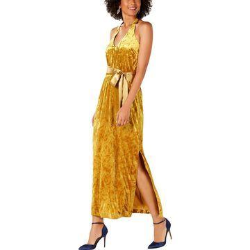 Avec Les Filles Womens Velvet V-Neck Maxi Dress