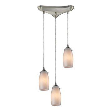 Elk Lighting Favelita 3-Light Pendant In Satin Nickel With Cocoa Glass Shade White