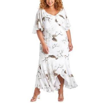R & M Richards Plus Size Floral-Print Capelet Gown