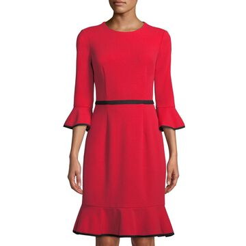 Bell-Sleeve Piped Crepe Sheath Dress