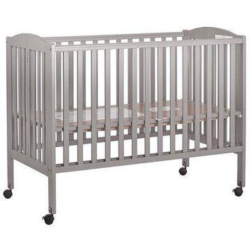Dream On Me, Folding Full Size Crib, Steel Grey