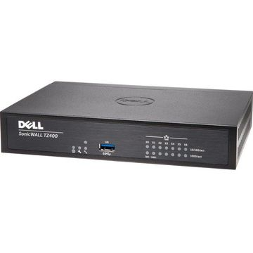 SonicWall TZ400 Network Security/Firewall Appliance - 7 Port - 10/100/1000Base-T Gigabit Ethernet - AES (128-bit), AES (256-bit), DES, MD5, AES (192-bit), SHA-1, 3DES - USB - 7 x RJ-45 - Manageable - Desktop