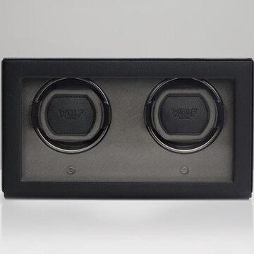 WOLF 1.8 Double Cub Watch Winder with Cover Black 461203 Free US Shipping