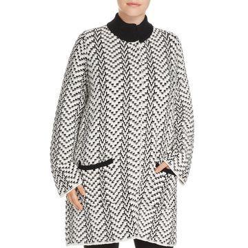 Foxcroft Black Women's Size 1X Plus Nola Chevron Sweater Coat