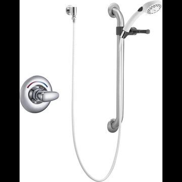 Delta T13H152 Single Handle Shower Valve Trim Less Shower Head with Metal Lever Handle and Personal Hand Shower with 24