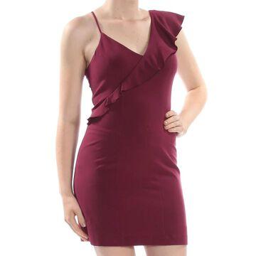 XOXO Womens Maroon Ruffled Sleeveless V Neck Mini Body Con Cocktail Dress Size: XL