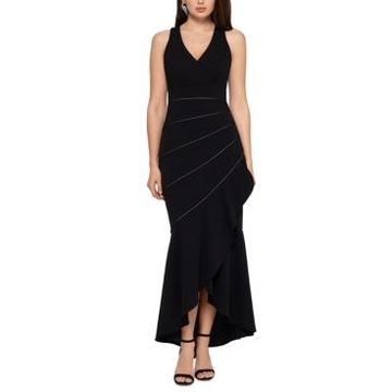 Xscape Piped Mermaid-Hem Gown
