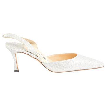 Manolo Blahnik Silver Leather Heels