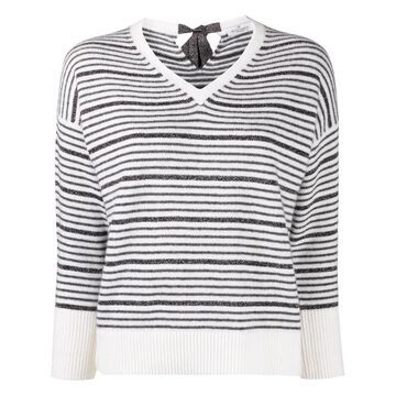 striped V-neck jumper