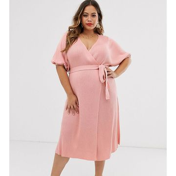 ASOS DESIGN Curve wrap dress in rib knit with volume sleeve