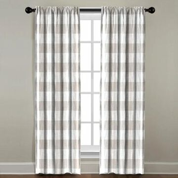 Beige Plaid Window Panel (108 Inches)