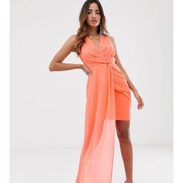 TFNC wrap front dress with asymmetric hem in coral-Orange