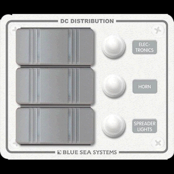 Blue Sea Systems 8274 Sw Pnl, Contura w/ Breakers, 3 Sw, White