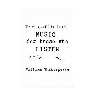 Noir Gallery Shakespeare Earth Music Quote Unframed Art Print/Poster