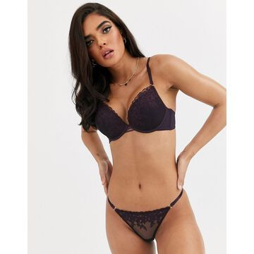 New Look embroidered boost bra in wine-Purple