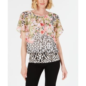 Petite Mixed-Print Banded Top, Created for Macy's