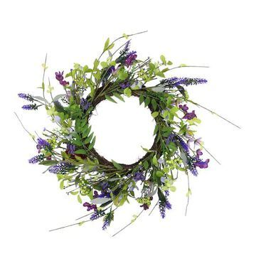 """20"""" Lavender & Wild Flower Artificial Spring Wreath By Northlight in Green 