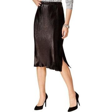 NY Collection Womens Metallic Pleated Midi Skirt