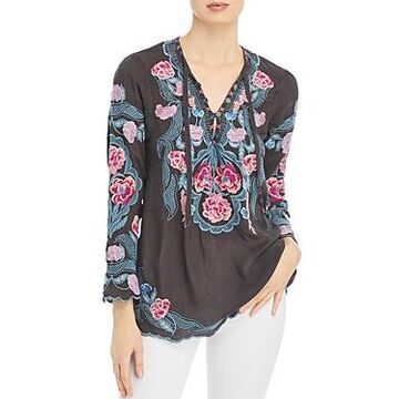 Johnny Was Floral Embroidered Blouse