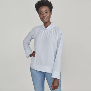 Women's Elizabeth and James Mockneck Shirred Front Top