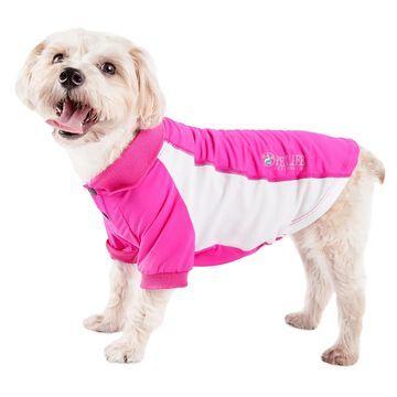 Pet Life Active Barko Pawlo Relax-Stretch Dog Polo Pink T-Shirt, Medium