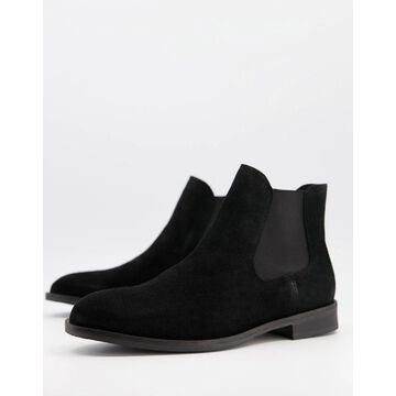 Selected Homme Suede Chelsea Boot In Black