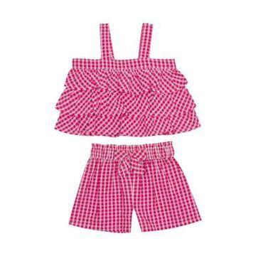 Rare Editions Girls' Baby Girls Red Ruffle Gingham Set - -