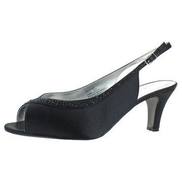 David Tate Women's Dainty Satin Crystal Heeled Evening Slingback Sandals