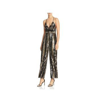 Bardot Womens Jumpsuit Sequienced Cropped