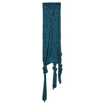 Loewe - Knotted-hem Sequinned Knitted Skirt - Womens - Blue