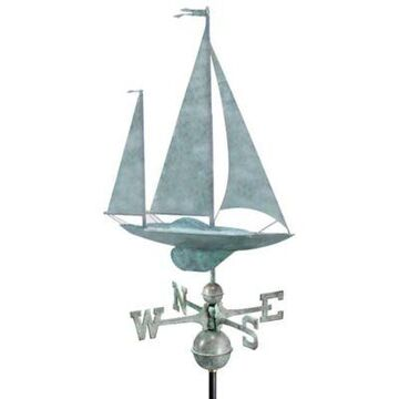 Good Directions Yawl Weathervane in Blue Verde Copper