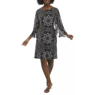 Connected Apparel Women's Flutter Sleeve Medallion Print A-Line Dress -