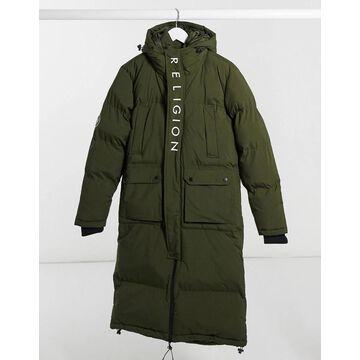 Religion long puffer jacket in green