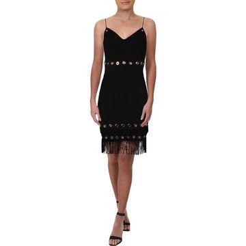 Aidan Mattox Womens Scuba Dress Sleeveless Fringe