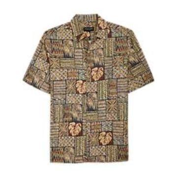 Pronto Uomo Green Multi Tropical Camp Shirt