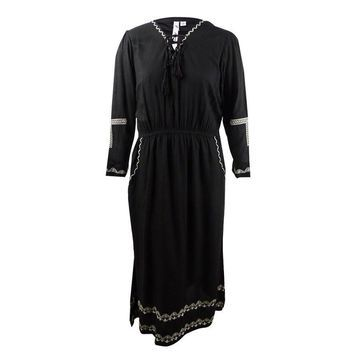 NY Collection Women's Plus Size Maxi Peasant Dress - Black Sunfence