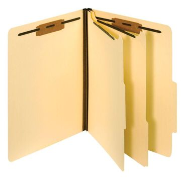 Pendaflex Top-Tab Manila Classification Folders With 2 Dividers, Letter Size, Box Of 10 Folders